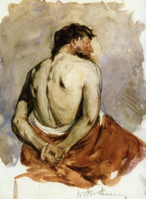 Уильям Меррит Чейз. Сидящий полуобнаженный мужчина со спины