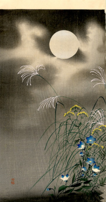 Ohara Koson. Flowers under the moon