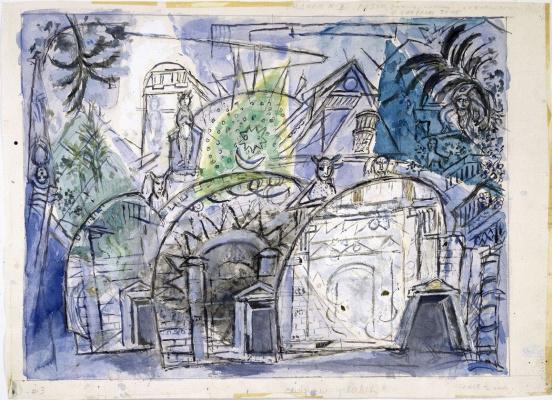 Марк Захарович Шагал. Эскиз декорации для оперы «Волшебная флейта»