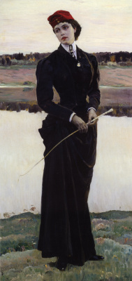 "Mikhail Vasilyevich Nesterov. A portrait of his daughter Olga Mikhailovna Nesterova (""Amazon"")"