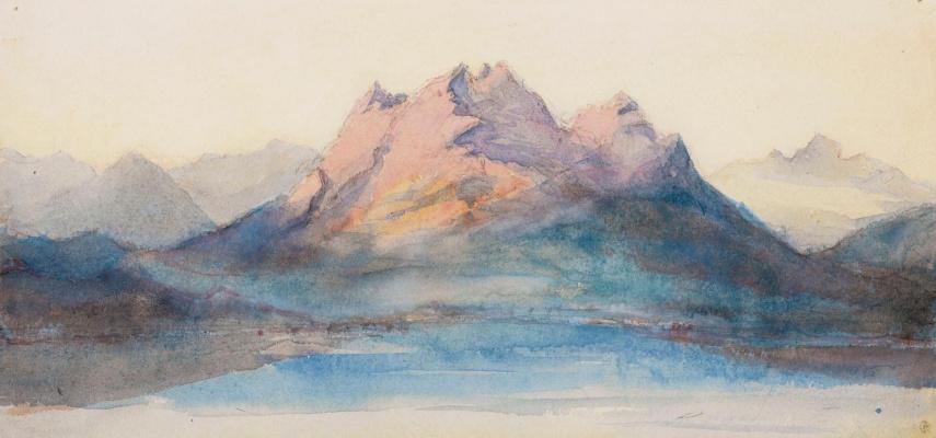 Джон Рёскин. Вид на гору Пилатус с озера Люцерн, Швейцария