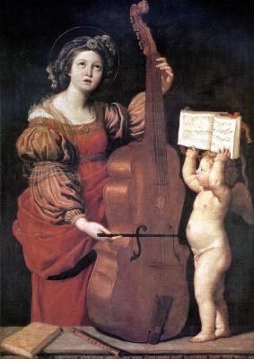 Дзампьери Доменико. Музицирующая Святая Цецилия с ангелом