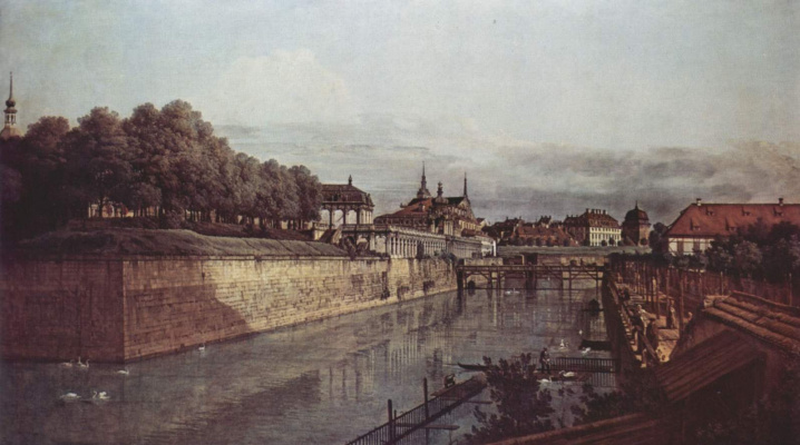 Джованни Антонио Каналь (Каналетто). Вид Дрездена, старый водяной ров Цвингера