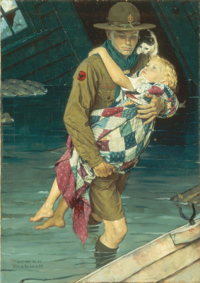 Norman Rockwell. Scout came to the rescue