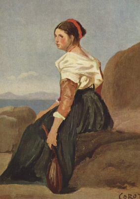 Camille Corot. Woman with mandolin