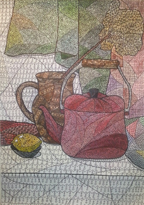Still life with red kettle