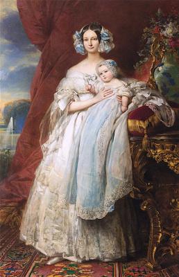 Franz Xaver Winterhalter. Helene Louise Elizabeth de Mecklenburg Schwerin, Duchess of Orleans and her son the count of Paris