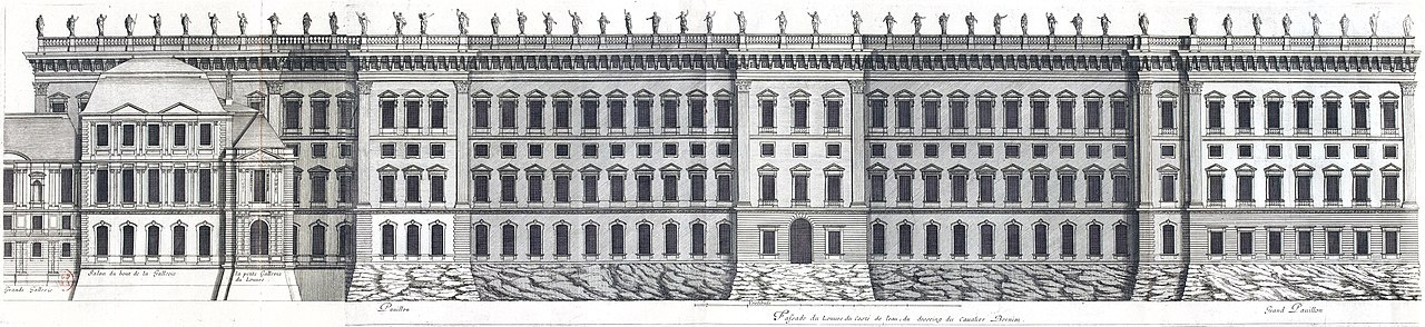 Gian Lorenzo Bernini. Louvre Museum, third project. South facade from the Seine