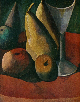 Still life with glass and fruits