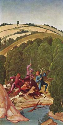 Рюланд Фрюауф Младший. Алтарь св. Леопольда, боковая створка: Охота на кабана