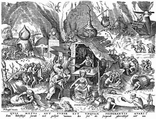 "Pieter Bruegel The Elder. The series ""Seven deadly sins"". Greed"