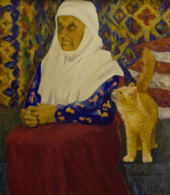 Alexander Ilyich Michri. Grandmother with a cat