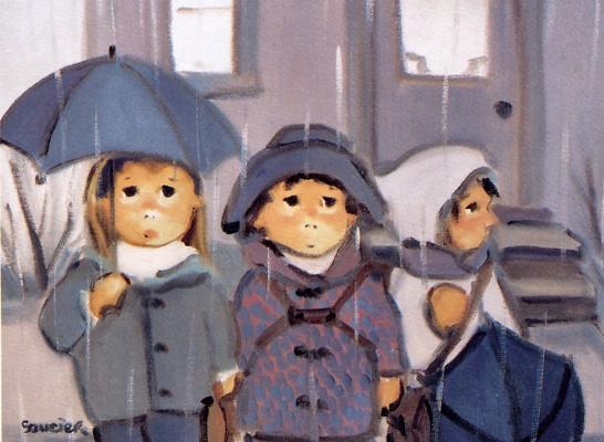 Под дождем перед голубым домом