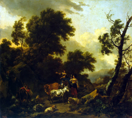 Nicholas Peters Berchem. Italian landscape with two girls and a herd of