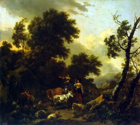 Николас Питерс Берхем. Итальянский пейзаж с двумя девушками и стадом