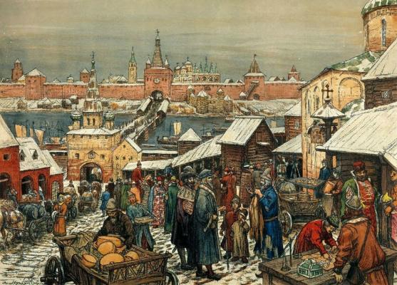 Apollinarius Mikhailovich Vasnetsov. Novgorod's trade