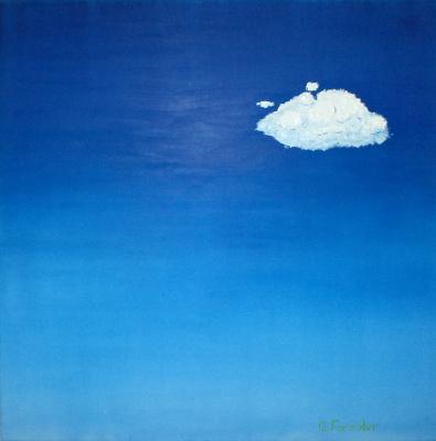 Белое облако в чистом, высоком небе
