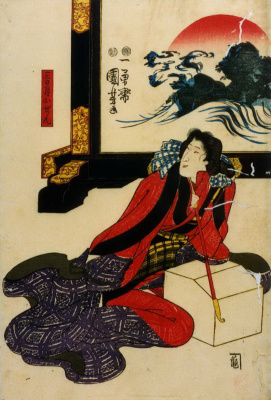 Utagawa Kuniyoshi. Lady, Smile, Autumn