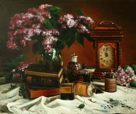 (no name). Still life with lilacs