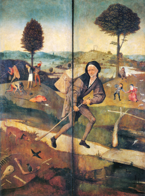 Hieronymus Bosch. The hay-cart. The outer panels of a triptych. The wanderer