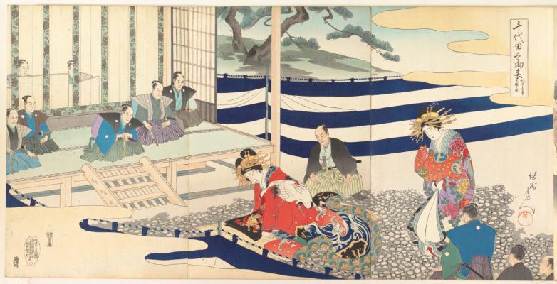 Toyohara Chikanobu. Triptych: Morals and customs of Edo. Tioda Castle. Male album