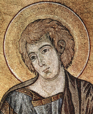 Cheney di Pepo Cimabue. Mosaic of the Cathedral of Pisa, scene: Christ enthroned with Mary and John, detail: John