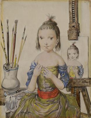 Цугухару Фудзита ( Леонар Фужита ). Девушка в студии