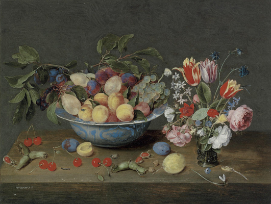 Jakob van Hülsdonk. Apricots, plums and grapes in a bowl