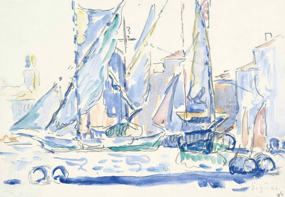 Paul Signac France 1863 - 1935. Saint Tropez, tartans in the port. 1905