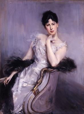 Джованни Больдини. Дама в белом платье и чёрном боа 1902