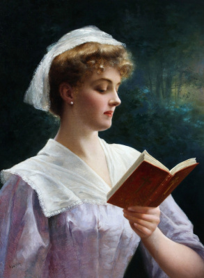 Emile Vernon. Young lady reading a book.
