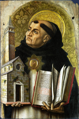 Carlo Crivelli. St. Thomas Aquinas. The Central altar of San Domenico at Ascoli, polyptych, left outer top