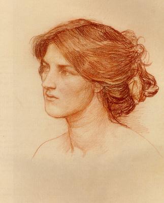 """Джон Уильям Уотерхаус. Портрет девушки. Этюд для """"Срывайте розы поскорей"""""""