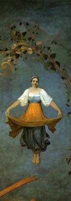 Алексей Гаврилович Венецианов. Девушка на качелях. Правая часть панно