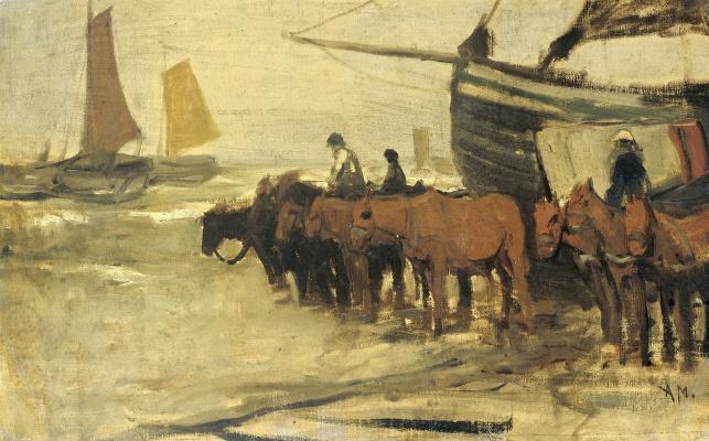 Антон Мауве. Рыбацкие лодки в море
