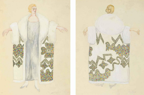 Natalia Goncharova. Sketch fur trimmed evening cloak