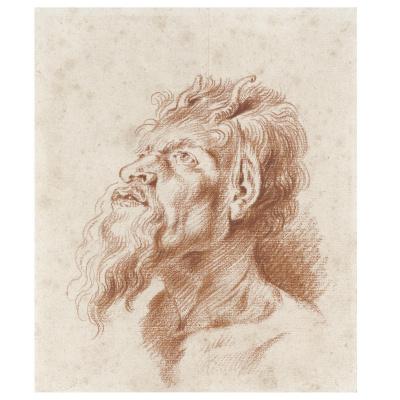 Antoine Watteau. HEAD OF A SATYR, AFTER RUBENS