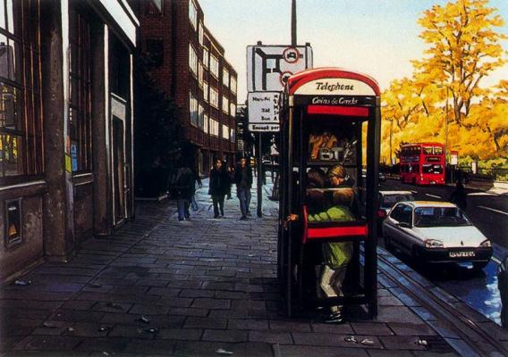 Lisa Milroy. Phone booth
