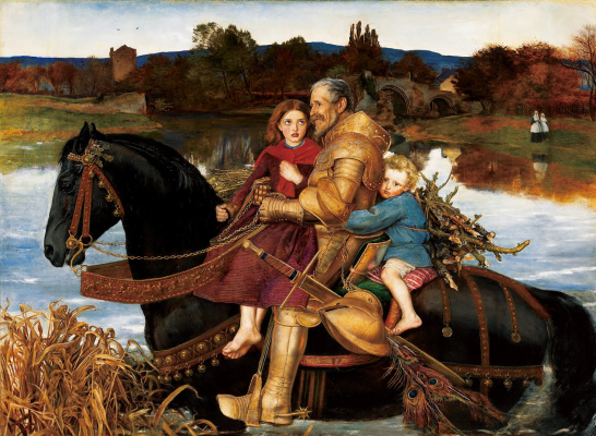 John Everett Millais. Dreams of the past: sir Isumbras crosses the river Ford