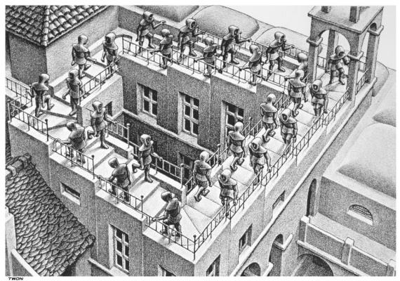 Maurits Cornelis Escher. Ascent and descent. Fragment