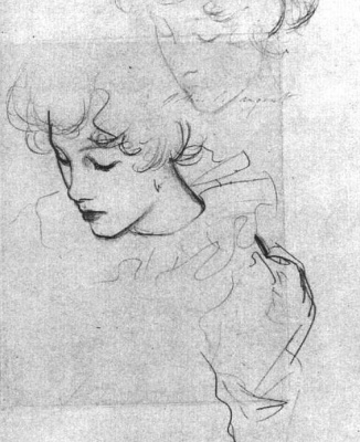 "John Singer Sargent. A sketch of Polly Barnard for ""Clove"""