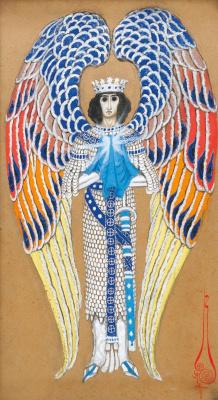 Николай Константинович Калмаков. Ангел Святого Грааля. 1914 поверх карандаша