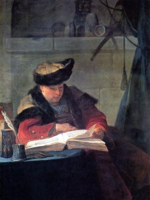 Жан Батист Симеон Шарден. Стеклодув. Химик в своей лаборатории. Портрет художника Жозефа Аве