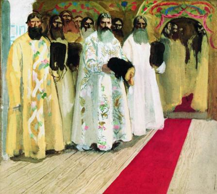 Andrei Petrovich Ryabushkin. Waiting for the king. 1901 Sketch