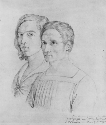 Johann Friedrich Overbeck. Double portrait of Peter Cornelius and Friedrich Overbeck