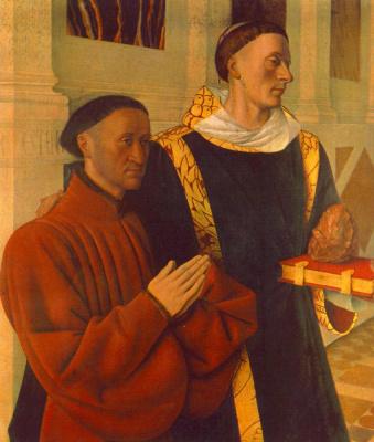 Jean Fouquet. Étienne Chevalier and his patron Saint Stephen