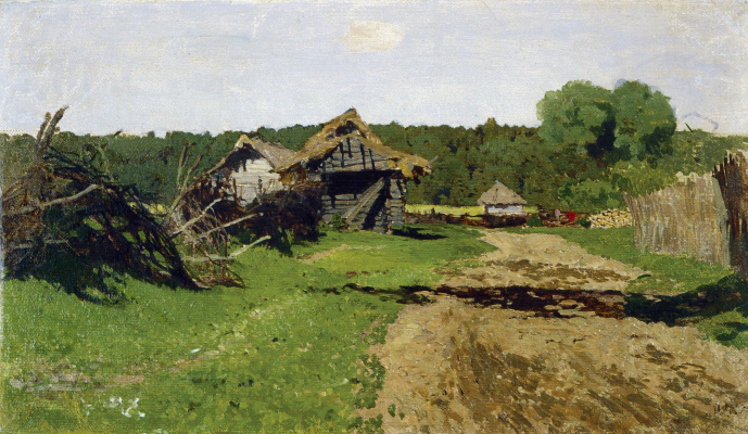 Isaac Levitan. The entrance to the village. Etude
