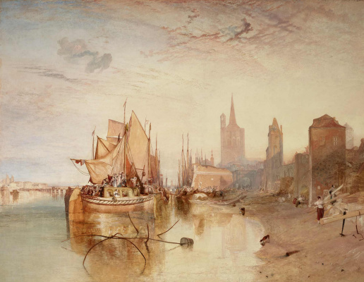 Cologne, the arrival of the steamer. The evening