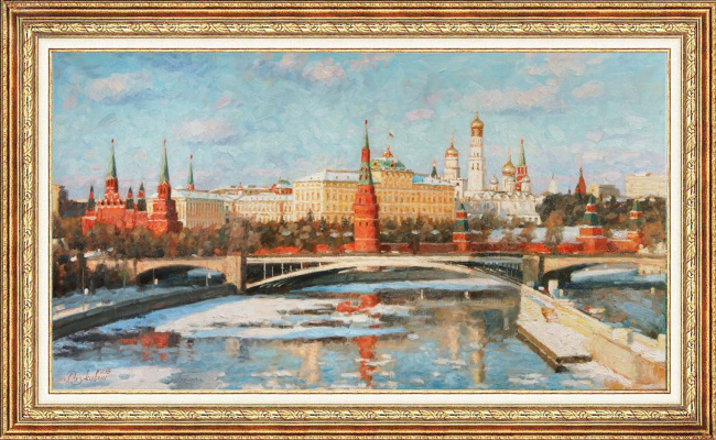 Igor Razzhivin. First snow by the Kremlin walls.