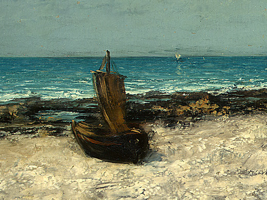 Gustave Courbet. Boats on beach, étretat